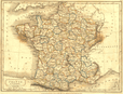 FRANCE : Departments : Sidney Hall, 1850 map